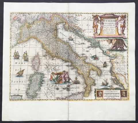 1644 Jan Jansson & Henricus Hondius Antique Map of Italy, Sardinia, Corsica