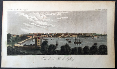 1820 J W Lewin Antique Print Early View of Sydney Cove