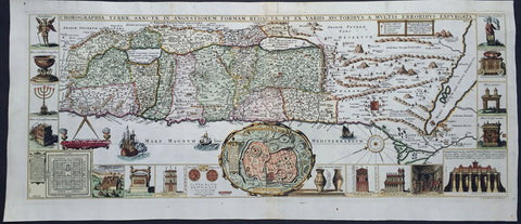 1632 Jacobus Tirinus Large Antique Map of The Holy Land, Palestine, XII Tribes