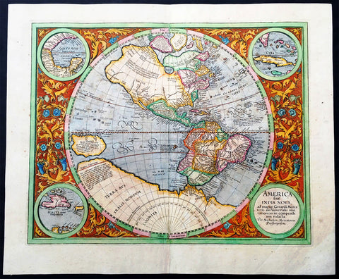 1633 Mercator Hondius Large Antique Map of America