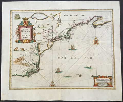 1646 Jansson Antique Map of America - Virginia, New Jersey, New York New England