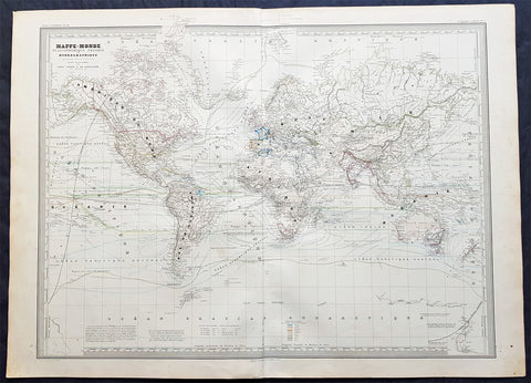1856 Dufour Very Large Antique Hydrographic World Map on Mercators Projection