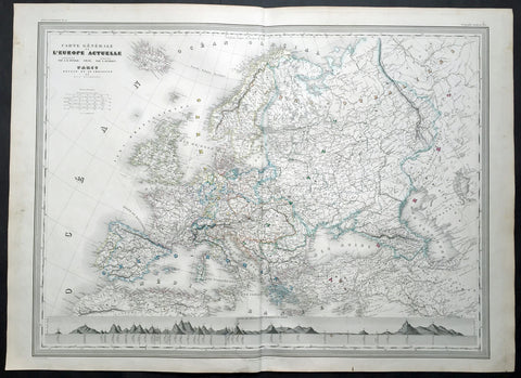1856 A H Dufour Very Large Antique Political map of Europe - Mountains