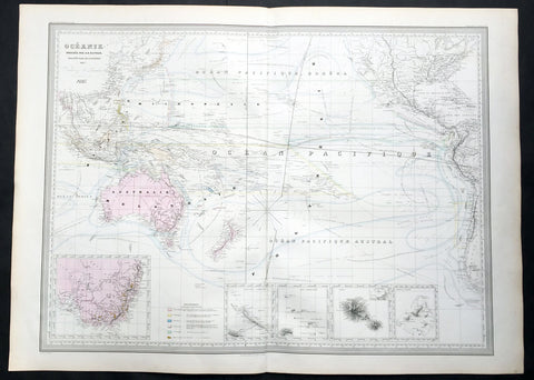 1857 A H Dufour Very Large Antique Map of Australia, New Zealand & South Pacific