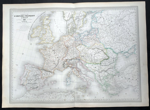 1856 A H Dufour Very Large Antique Map of The Different Empires of Europe