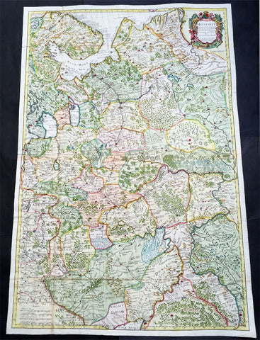 1712 Senex Very Large Antique Map of European Russia - Moscovy Corrected