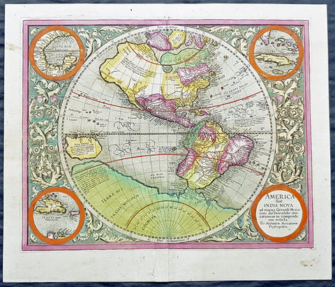 1613 Mercator Antique Map of America & The Great Southern Land - Terra Australis