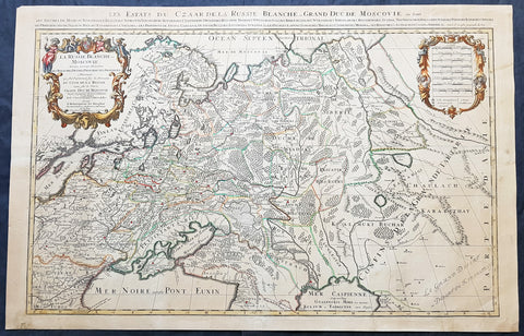 1698 Alexis Jaillot Large Antique Map European Russia, Poland, Baltics, Crimea