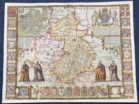 1610 John Speed Antique Map of The English County of Cambridgeshire