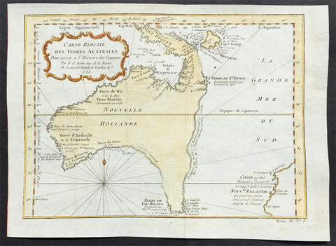 1753 Bellin Antique Map of Australia & New Zealand - Carte Reduite.....Australes
