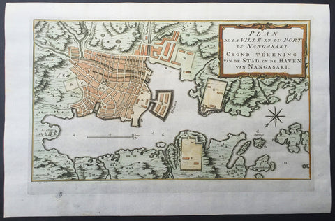 1757 Bellin Antique Map of The Port & City of Nagasaki, Japan - Deshima & Shogun
