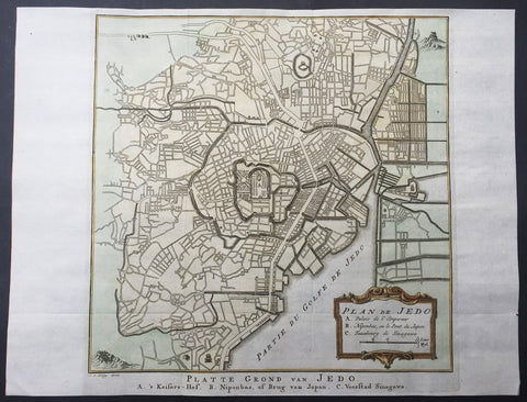 1757 Bellin Antique Map Plan of the City of Tokyo, Edo, Yeddo - Emperors Palace