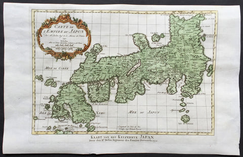 1752 Nicolas Bellin Original Antique Map The Islands of Japan - Empire du Japon