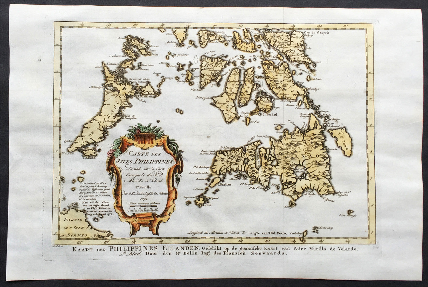 1752 Bellin Original Antique Map Islands Of The Southern Philippines