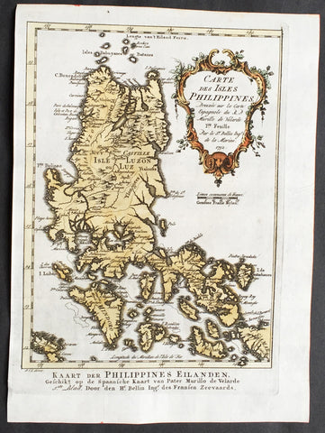 1752 J N Bellin Antique Map of the Philippines - Luzon
