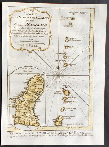 1752 Bellin Antique Map of The Marianas Islands & the Island of Guam