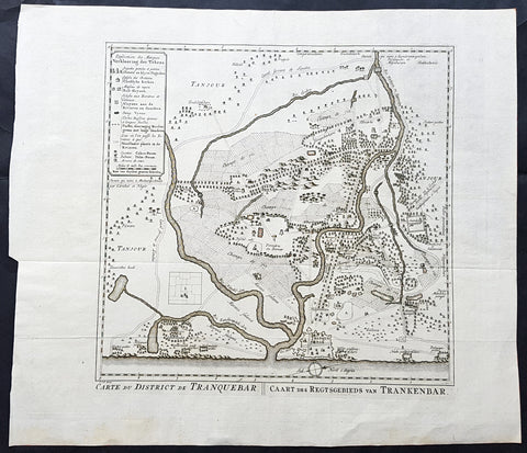 1755 Antoine Prevost Antique Map of Tharangambadi, Nagapattinam District, Tamil Nadu, India