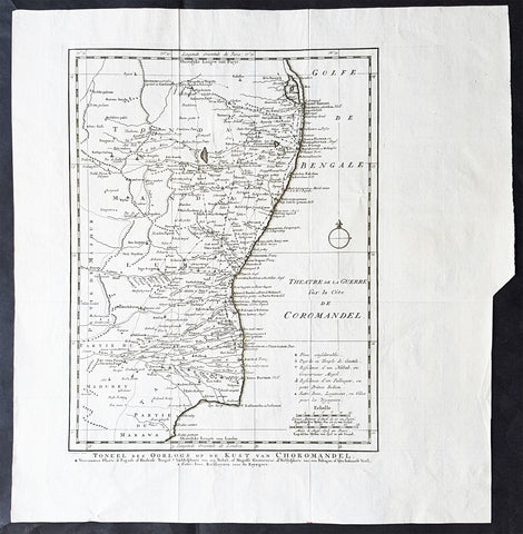 1755 Antoine Prevost Antique Map of Carnatic Wars on the Coromandel Coast, India