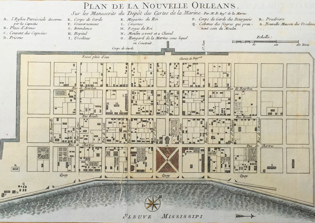 Bellin Antique Map Plan Of The City Of New Orleans - Usa map new orleans