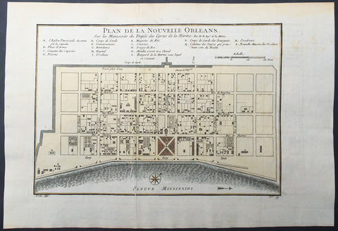 1757 Bellin Antique Map - Plan of The City of New Orleans, Louisiana, USA