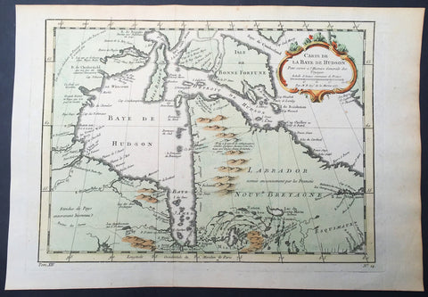 1757 Nicolas Bellin Large Antique Map of Hudsons Bay & Provinces, Canada