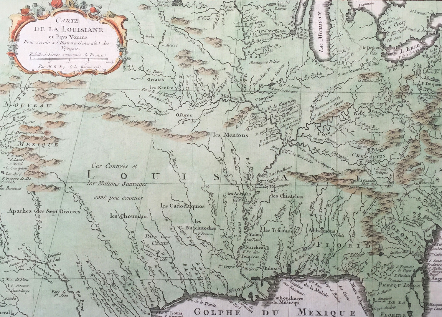1757 Bellin Antique Map The Colonial United States Louisiana Texas