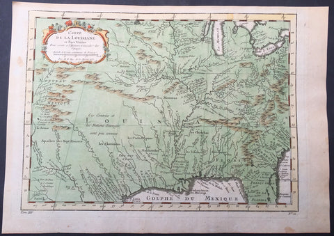 1757 Bellin Antique Map The Colonial United States, Louisiana, Texas, New Mexico