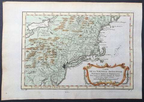 1757 Bellin Antique Map of New England, New York, New Jersey, Pennsylvania