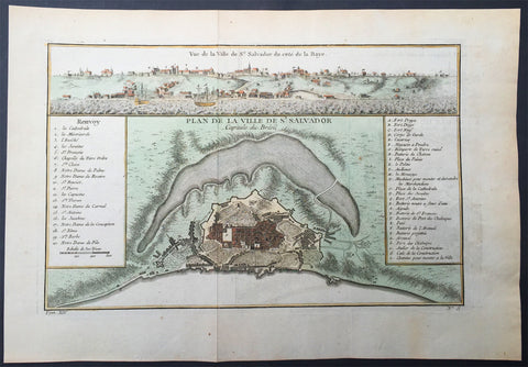 1757 Bellin Antique Map & View of the City of Salvador, Brazil