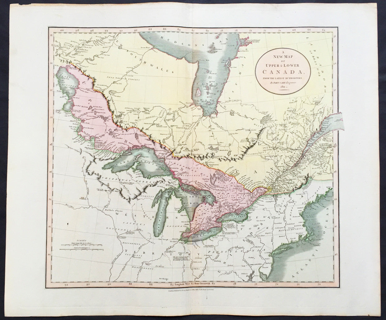 1811 John Cary Large Old, Antique Map of The Great Lakes of North America