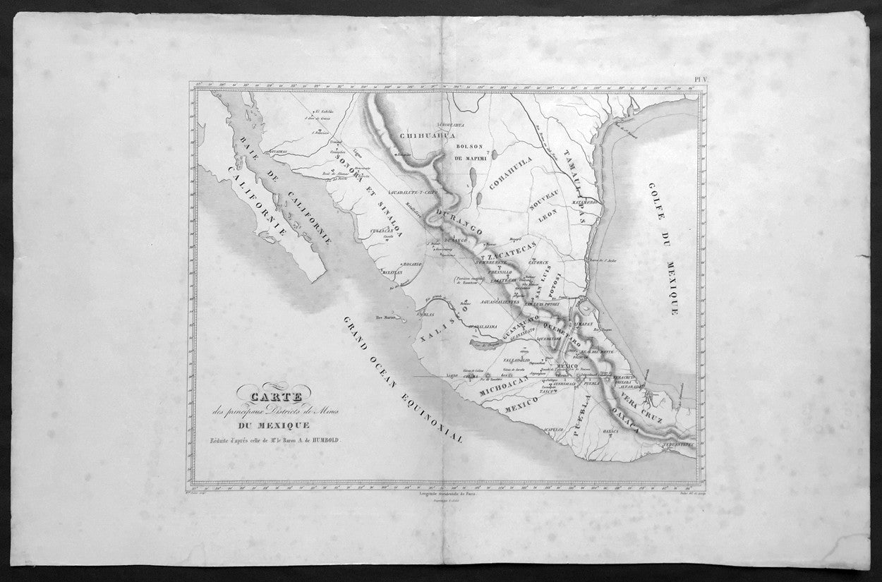 Large Map Of Texas.1843 Baron Von Humboldt Large Old Antique Map Of Texas Mexico Mining Rare