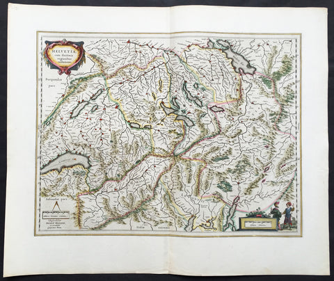 1647 Willem Blaeu Large Antique Map of Switzerland - Helvetia