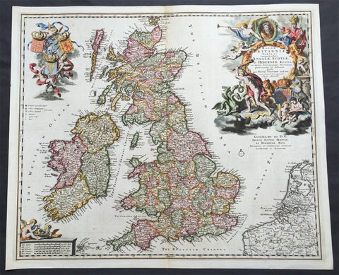1690 Nicolas Visscher Large Old, Antique Map of Great Britain & Ireland