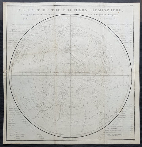 1777 Capt James Cook Antique Map of the Southern Hemisphere, 1st Ed - Australia