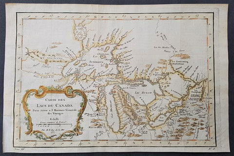 1757 Bellin Antique Map Great Lakes of United States & Canada, North America