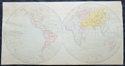 1850 Scarce Chinese Twin Hemisphere World Map - 世界