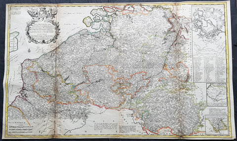1720 Moll Large Antique Map of The Low Countries, Flanders Netherlands & Belgium