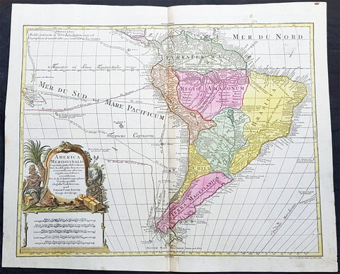 1772 T C Lotter Large Original Antique Map of South America