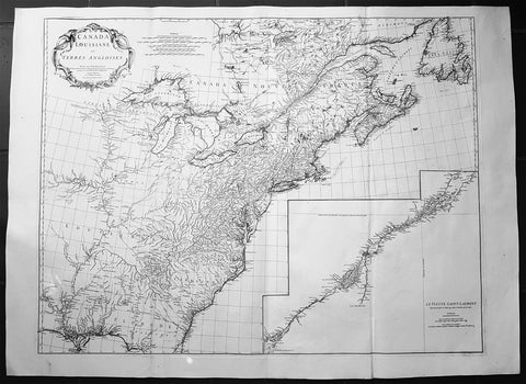 1755 JB D Anville Large Original Antique Map of North America, Great Lakes, Indian Wars