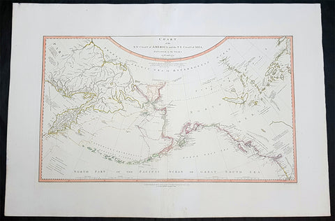 1794 James Cook & Vancouver Large Rare Antique Map NW America. Alaska, Canada, Bering Straits