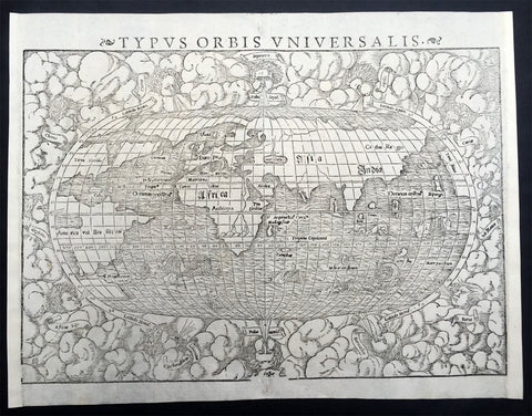 1550 Sebastian Munster Original Antique Oval World Map - Columbus America