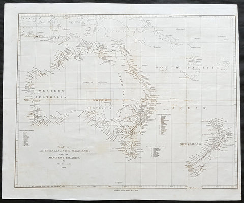 1841 John Arrowsmith Rare Antique Map of Australia & New Zealand