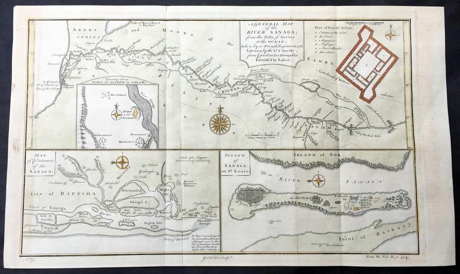 1745 d anville childs antique map of senegal fort st louis 1745 d anville childs antique map of senegal fort st louis african slavary ccuart Images
