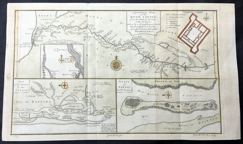1745 D Anville & Childs Antique Map of Senegal, Fort St Louis, African Slavary