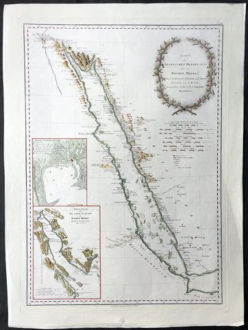 1787 D Anville & Niebuhr V. Large Antique Map of The Red Sea Suez, Saudi Arabia