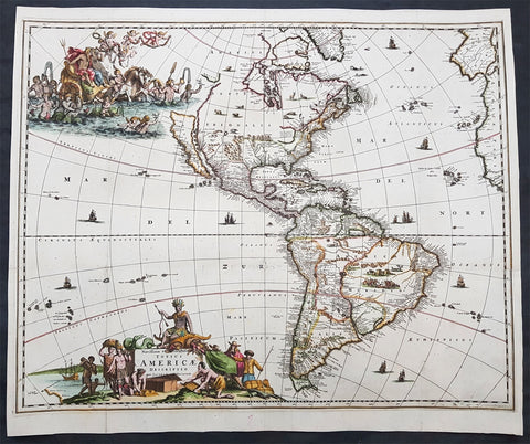1671 Jacob Van Meurs Rare Original Antique Map of America - Island of California