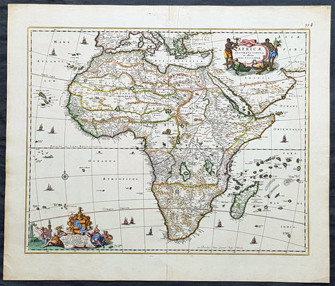 1690 Nicolas Visscher Large Original Antique Map of Africa