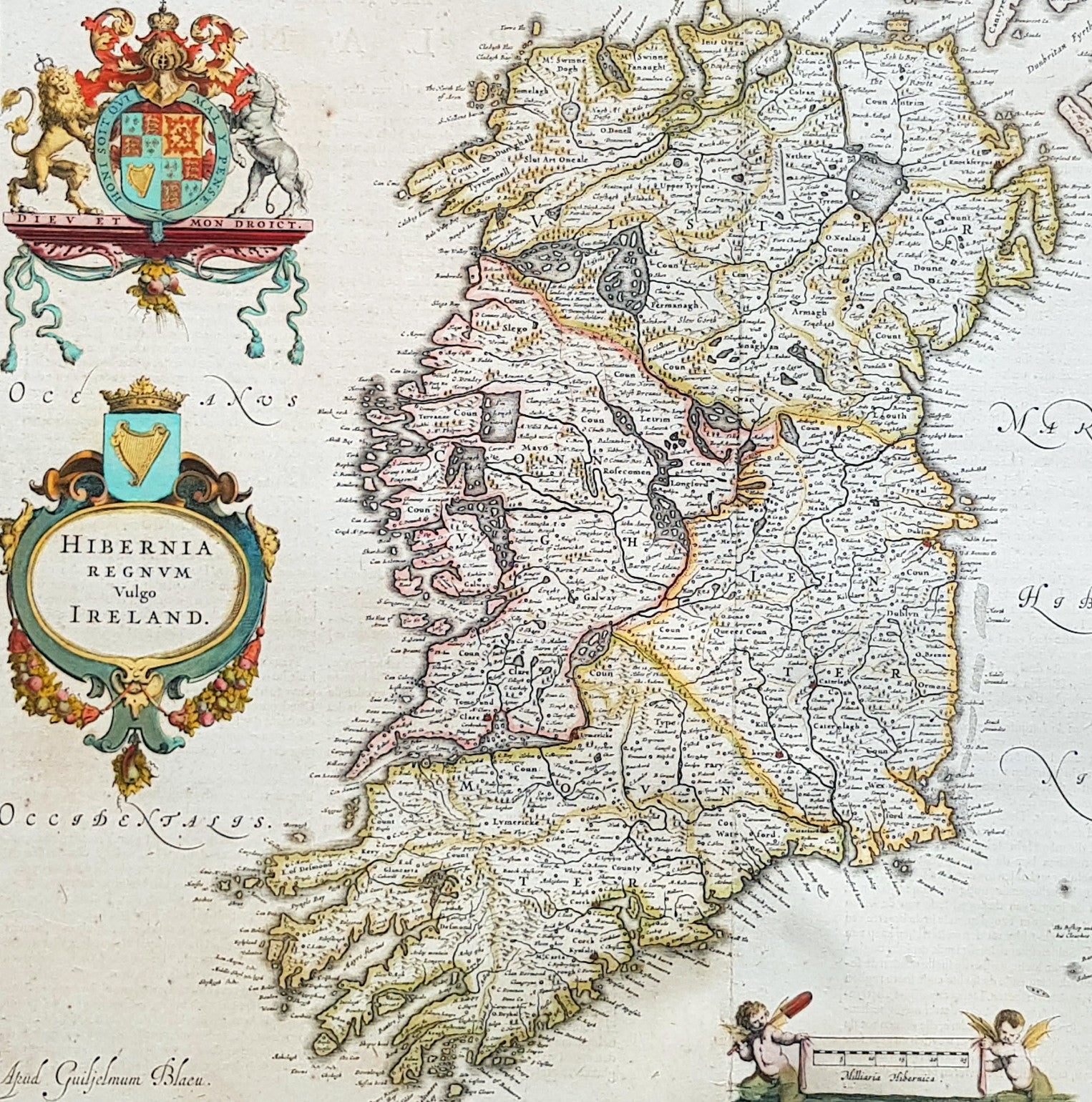 Large Map Of Ireland.1642 Blaeu Large Old Antique Map Of Ireland Hibernia Regnum