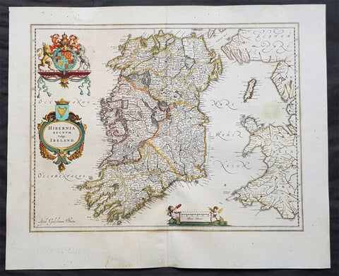 1642 Blaeu Large Old, Antique Map of Ireland - Hibernia Regnum