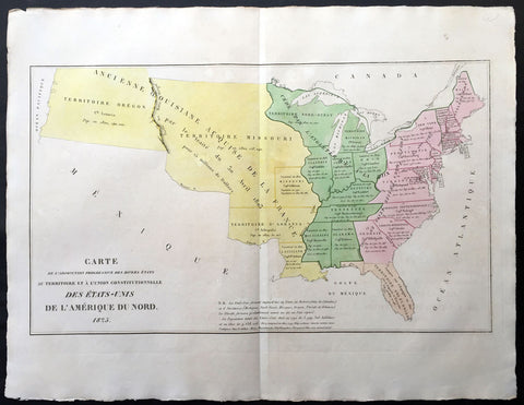 1825 Carey & Lea, Buchon Antique Map United States America - Oregon Territories
